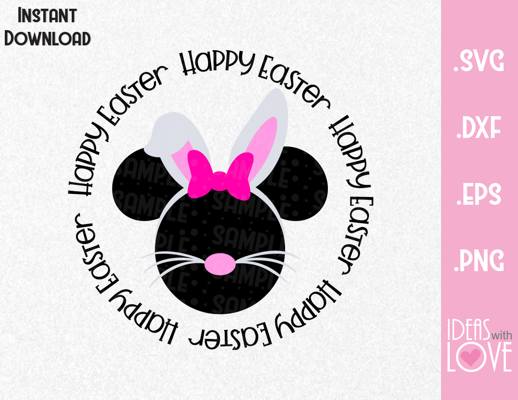 Happy Easter Minnie Ears Bunny Inspired SVG, EPS, DXF, PNG