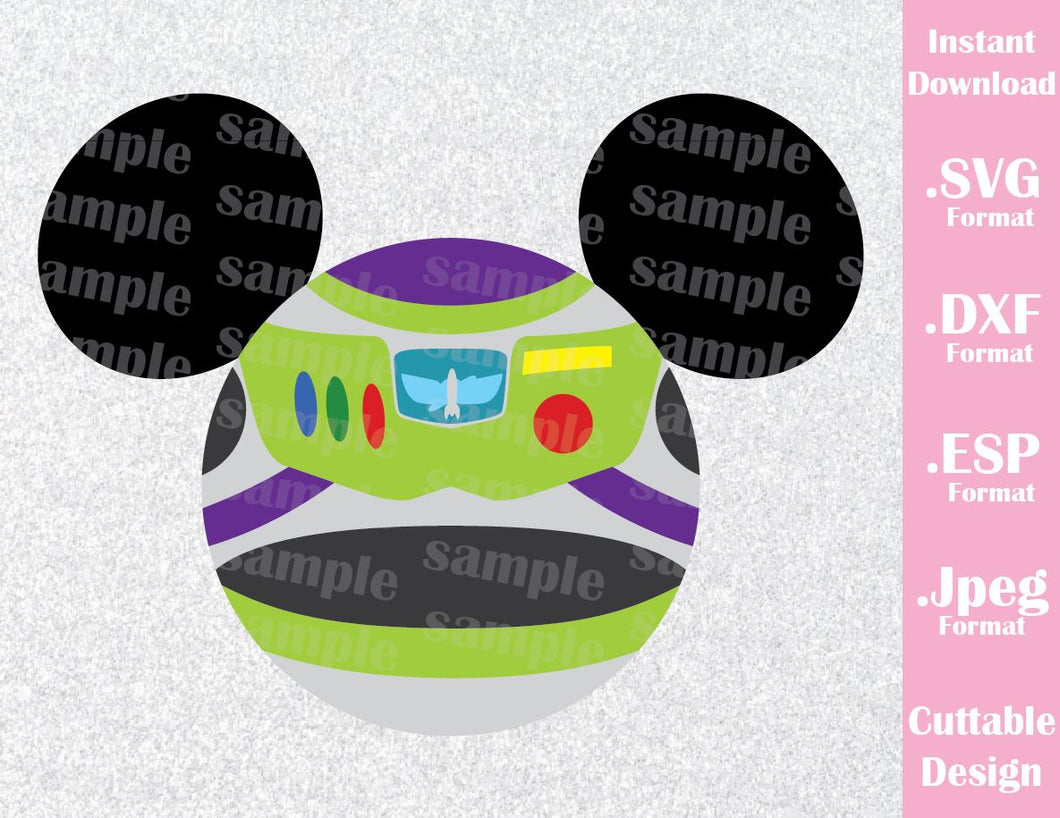 Buzz Lightyear from Toy Story Mickey Ears Inspired Cutting File in SVG, ESP, DXF, PNG and JPEG Format