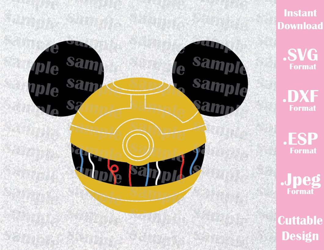 C3PO Mickey Ears Star Wars Inspired Cutting File in SVG, ESP, DXF and JPEG Format