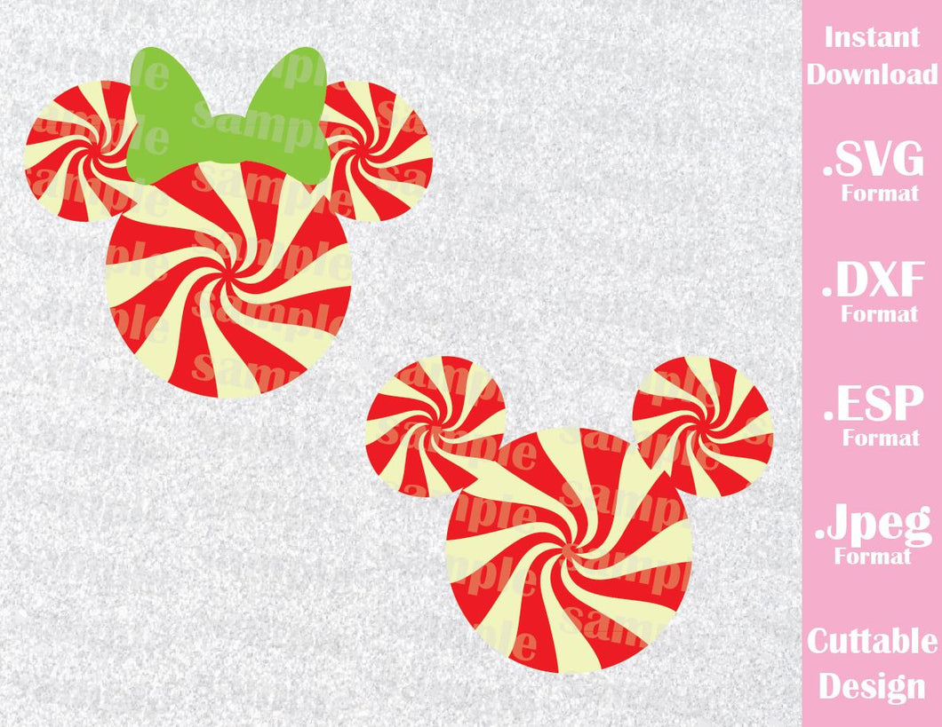Mickey and Minnie Ears Candy Cane Christmas Inspired Cutting File in SVG, ESP, DXF and JPEG Format