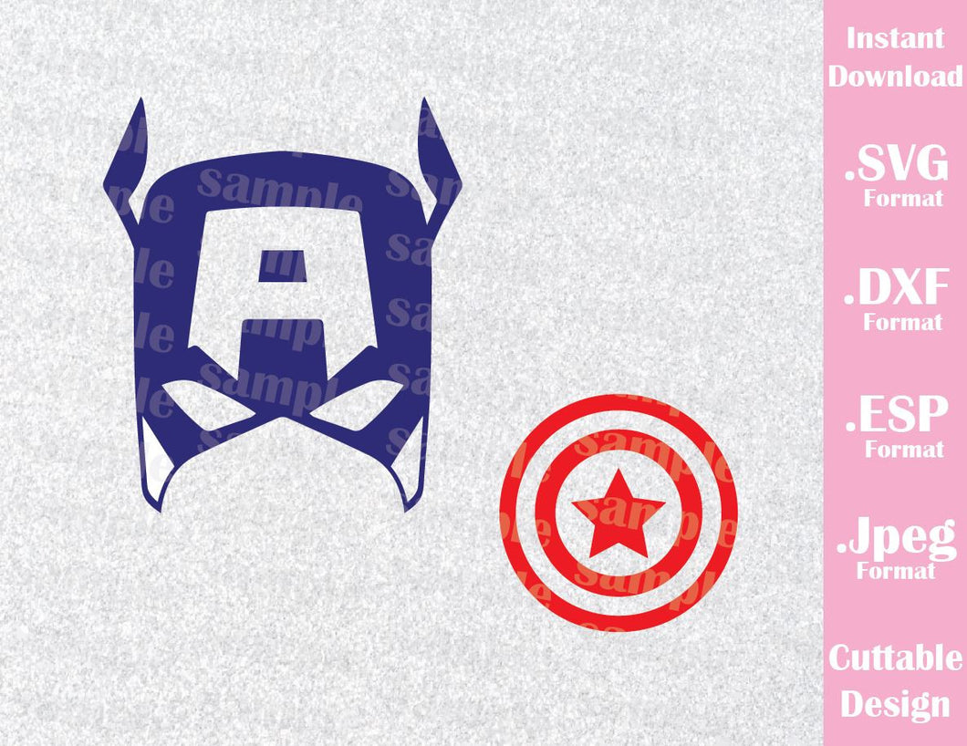 Captain America Superhero Inspired Cutting File in SVG, ESP, DXF and JPEG Format