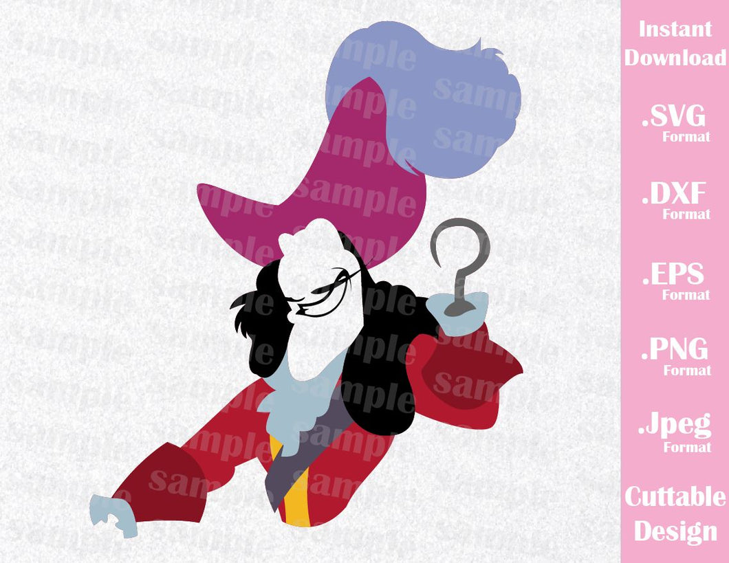 Villains Inspired Captain Hook Cutting Machines File in SVG, ESP, DXF, PNG and JPEG Format for Cricut and Silhouette