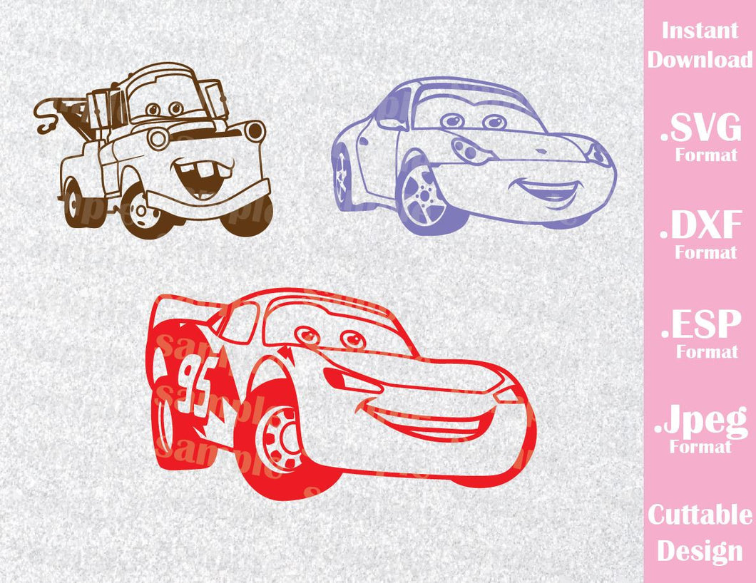 Cars Lightning McQueen Sally Carrera and Mate Kids Characters Disney Inspired Cutting File in SVG, ESP, DXF and JPEG Format