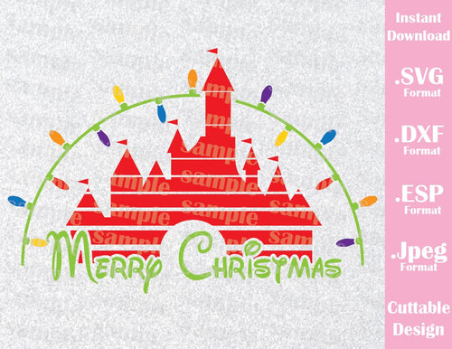 Disney Castle Merry Christmas Disney Family Vacation Inspired Cutting File in SVG, ESP, DXF and JPEG Format