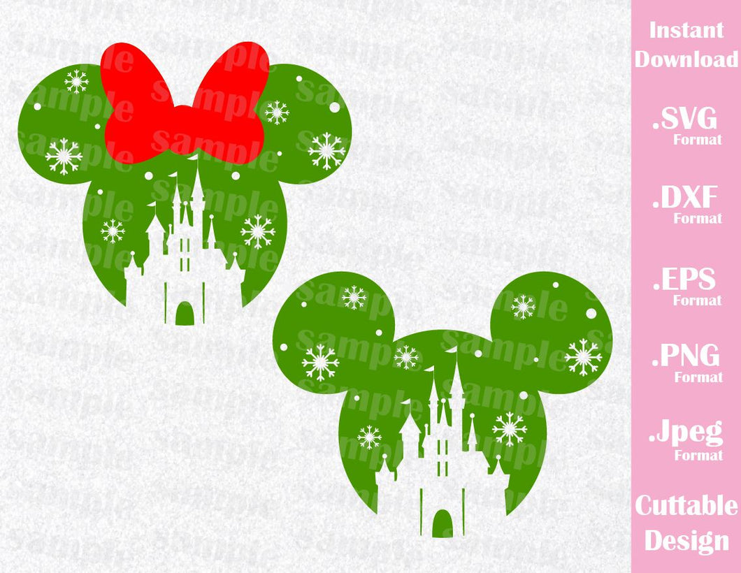 Castle Christmas Mickey and Minnie Ears, Family Vacation Inspired Cutting File in SVG, ESP, DXF, PNG Format