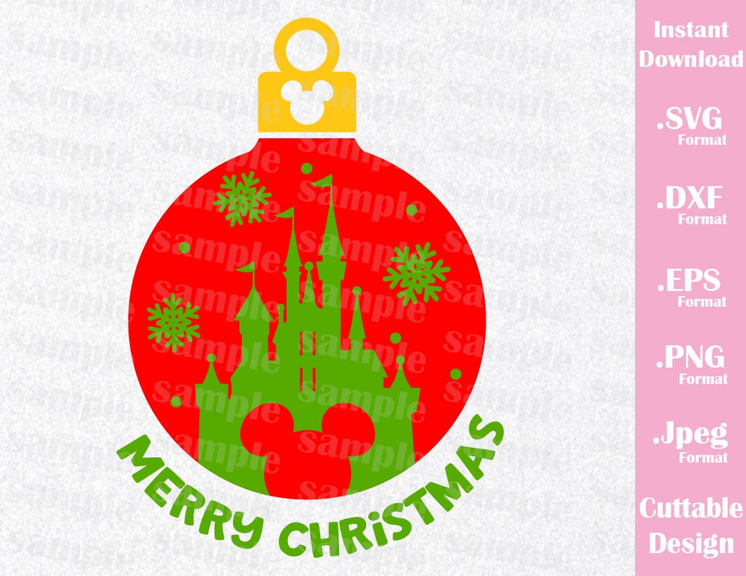 Disney Castle Christmas Svg.Disney Castle Christmas Ornament Disney Inspired Family Vacation Cutting File In Svg Esp Dxf Png And Jpeg Format