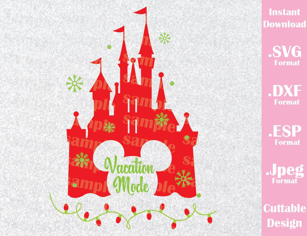 Disney Castle Christmas Svg.Castle Christmas Vacation Mode Inspired Cutting File In Svg Esp Dxf And Jpeg Format