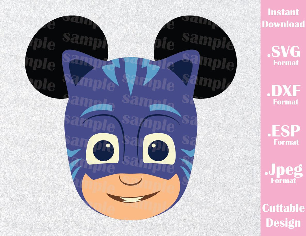 Cat Boy Mickey Ears PJ Masks Kids Characters Inspired Cutting File in SVG, ESP, DXF, PNG and JPEG Format