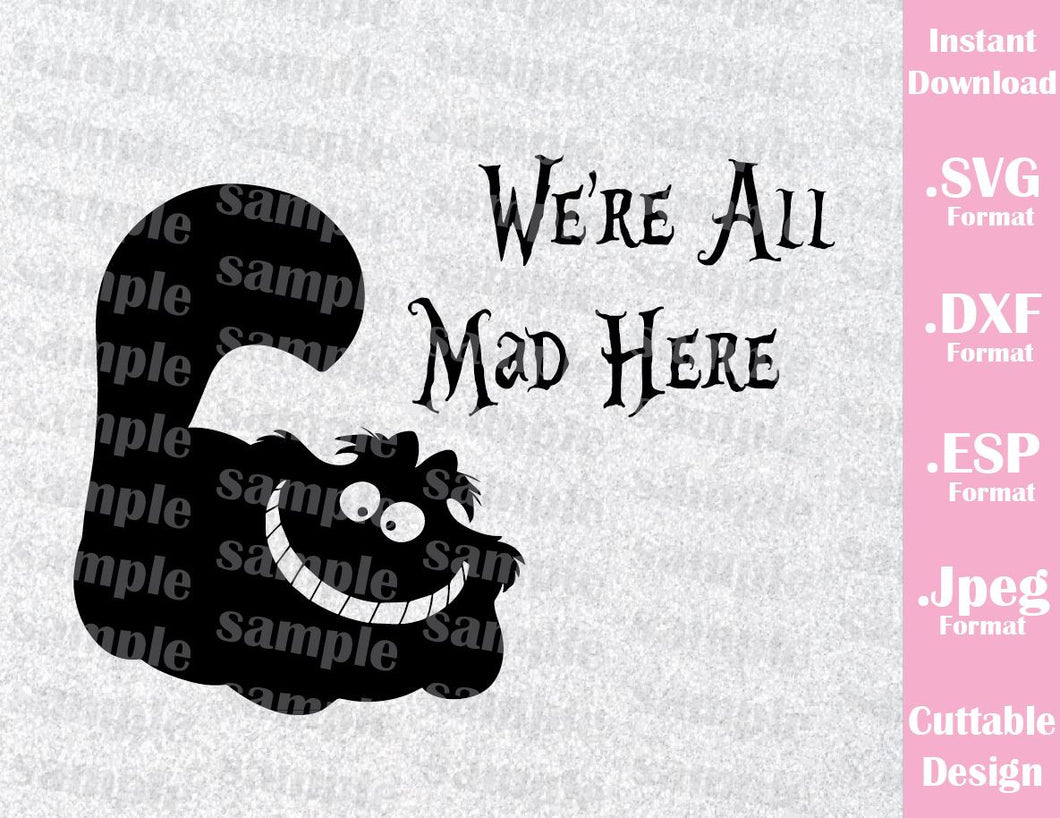 Cheshire Cat  Alice in Wonderland Inspired Cutting File in SVG, ESP, DXF and JPEG Format