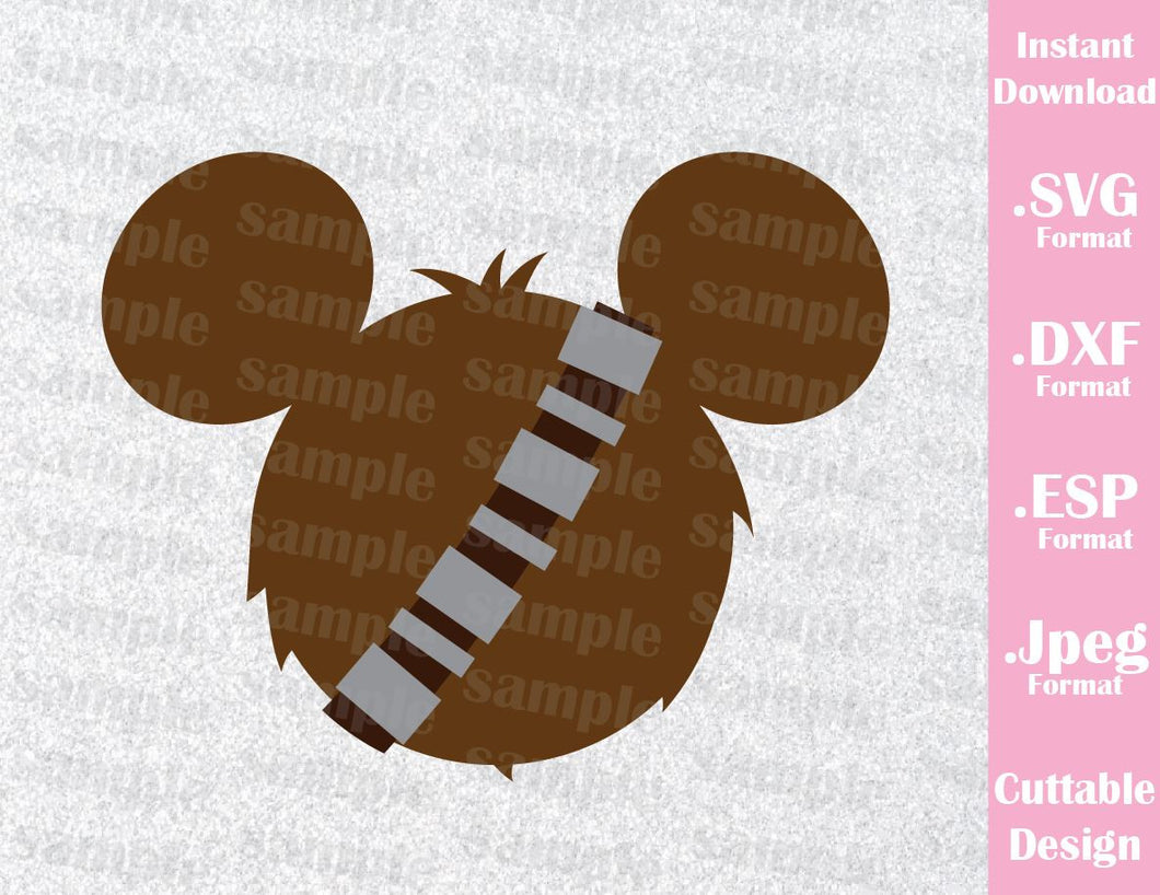 Chewbacca Mickey Ears Star Wars Inspired Cutting File in SVG, ESP, DXF and JPEG Format