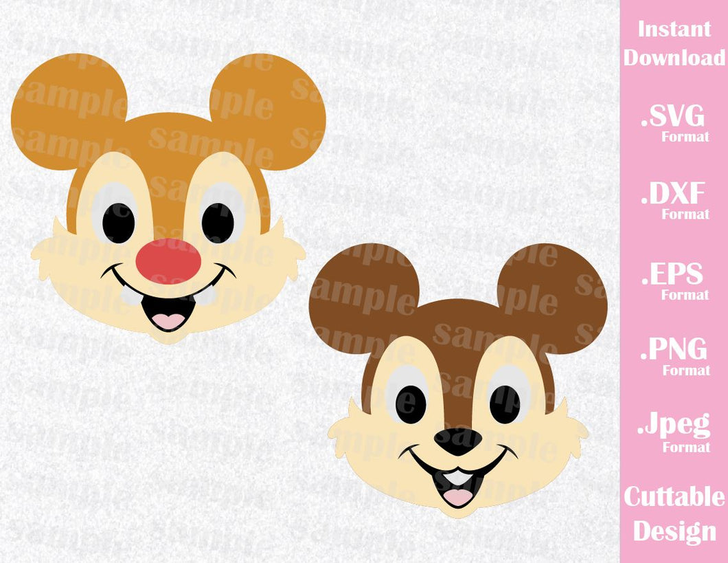 Chip and Dale Mickey Ears Inspired Cutting File in SVG, ESP, DXF, PNG and JPEG Format