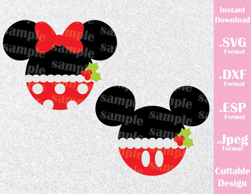Mickey and Minnie Mouse Ears Christmas Disney Inspired Cutting File in SVG, ESP, DXF and JPEG Format