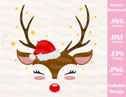 Christmas Deer, Cutting File in SVG, ESP, DXF and PNG Format for Cricut and Silhouette Machines