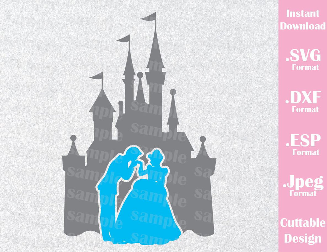Disney Castle Inspired Cinderella and Prince Charming Cutting File in SVG, ESP, DXF and JPEG Format