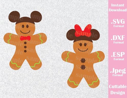 Gingerbread Cookies Mickey and Minnie Mouse Ears Disney Christmas Vacation Inspired Cutting File in SVG, ESP, DXF and JPEG Format