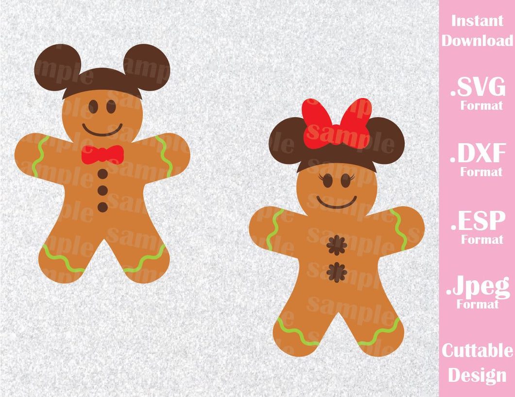 Gingerbread Cookies Mickey and Minnie Ears Christmas Vacation Inspired Cutting File in SVG, ESP, DXF and JPEG Format