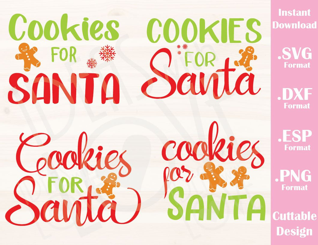 Christmas Quotes For Kids.Cookies For Santa Christmas Quote Bundle Includes 4 Designs Kids Family Vacation Cutting File In Svg Esp Dxf And Png Format For Cricut And