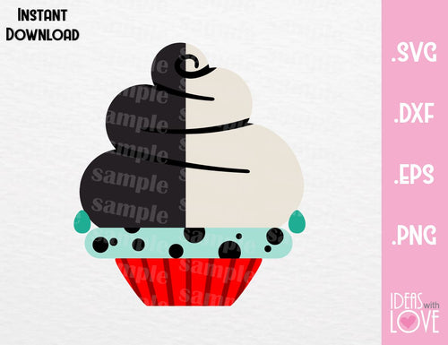Cruella Cupcake Villain Inspired Cutting Machines File in SVG, EPS, DXF and Png Format