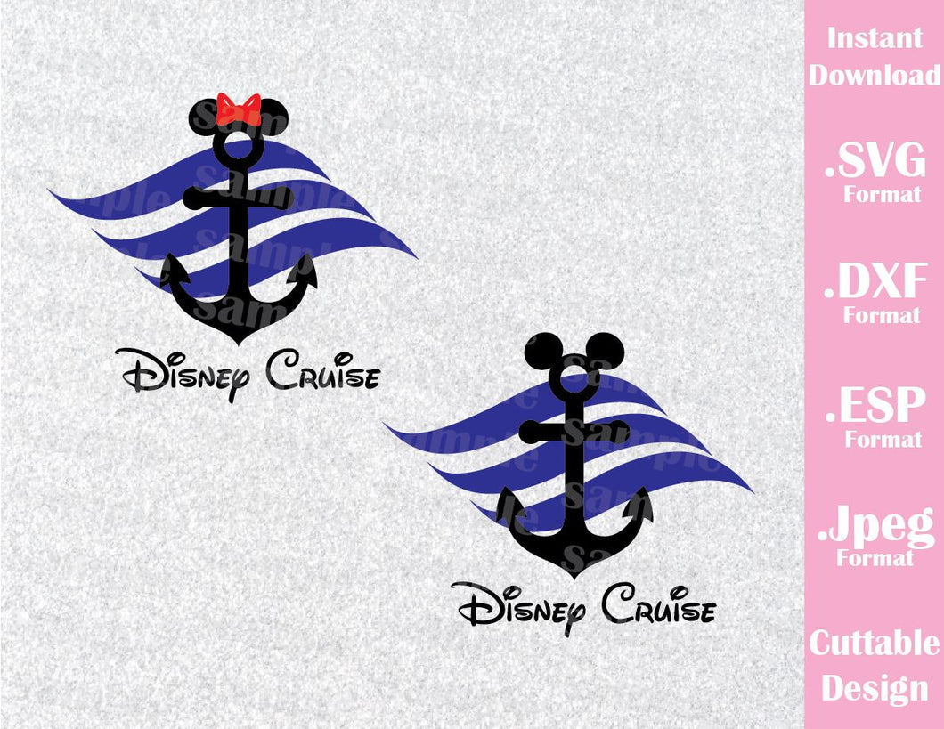 Cruise Anchor Mickey and Minnie Ears Inspired Cutting File in SVG, ESP, DXF and JPEG Format