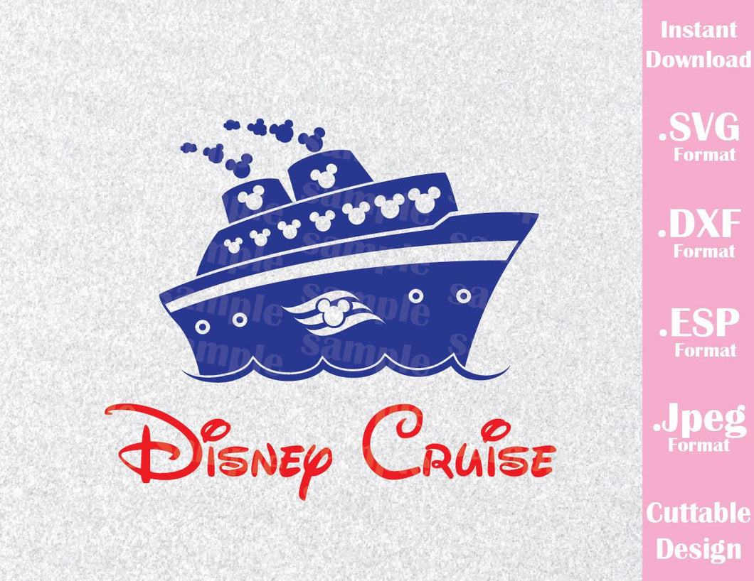 Disney Inspired Cruise Logo Mickey Ears Family Vacation Cutting File In SVG ESP DXF