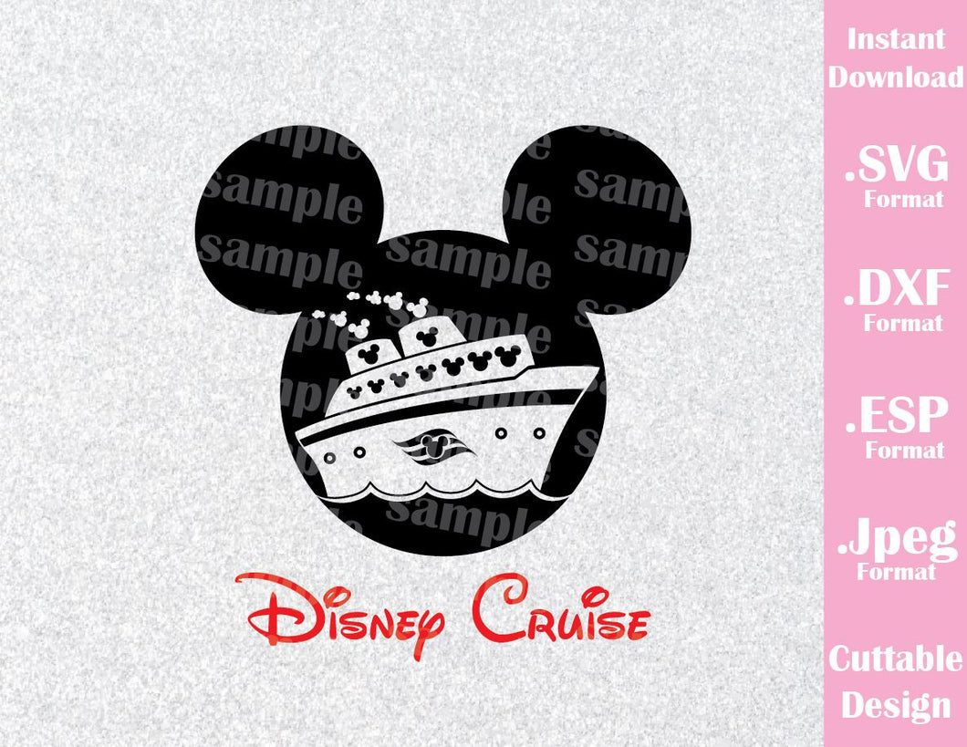 Mickey Boy Cruise Logo Mouse Ears Family Vacation Cutting File in SVG, ESP, DXF and JPEG Format