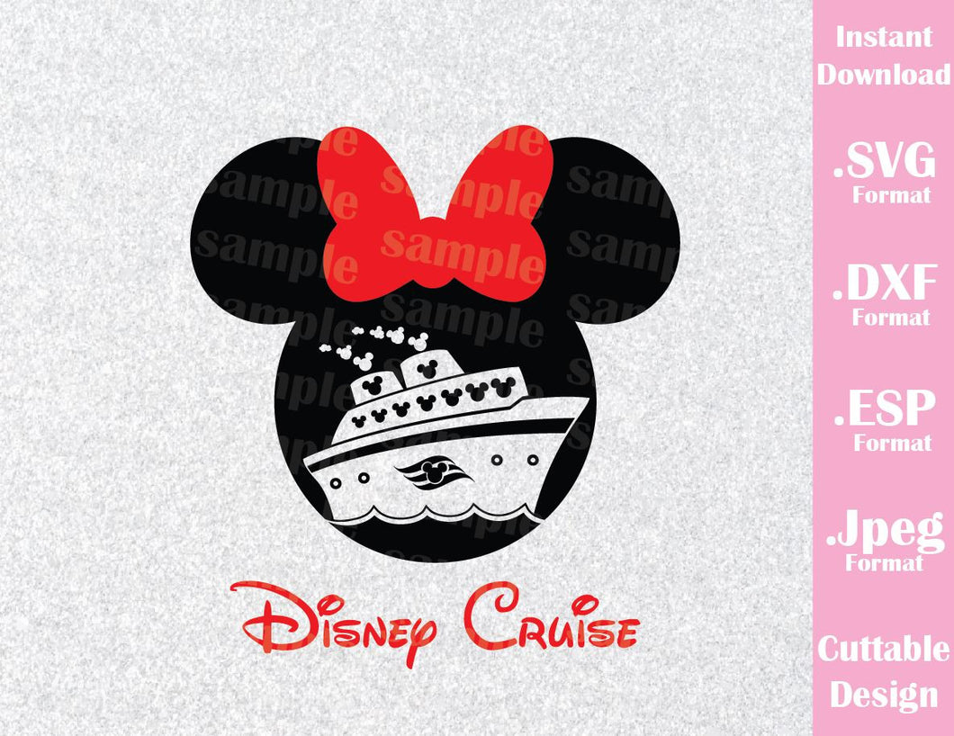Minnie Ears Cruise Inspired Family Vacation Cutting File in SVG, ESP, DXF and JPEG Format