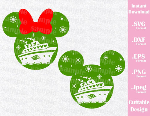 Christmas Cruise Mickey and Minnie Ears Vacation Inspired Cutting File in SVG, ESP, DXF, PNG Format