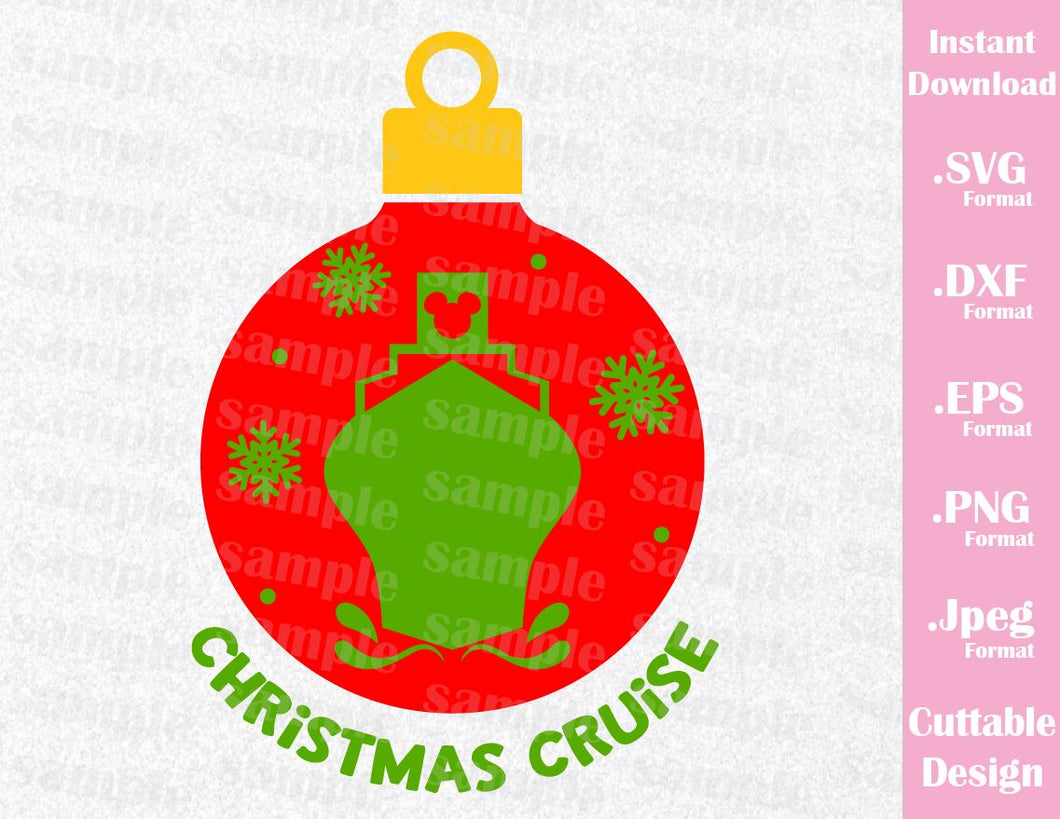 Christmas Cruise Ornament Vacation Inspired Cutting File in SVG, EPS, DXF, PNG and JPEG Format