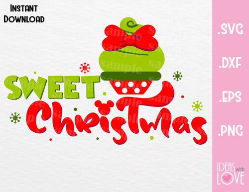Minnie Cupcake Sweet Christmas Inspired Cutting File in SVG, EPS, DXF, PNG Format