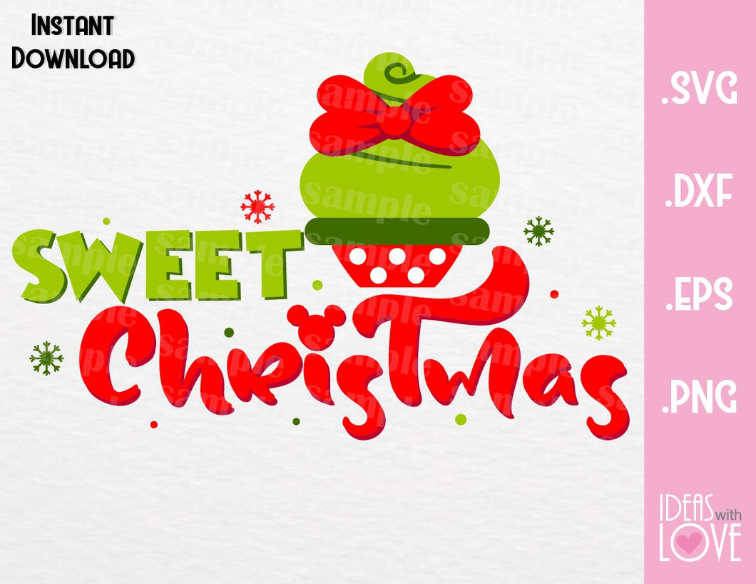 Minnie Cupcake Sweet Christmas Inspired Cutting File in SVG, EPS, DXF, PNG and JPEG Format
