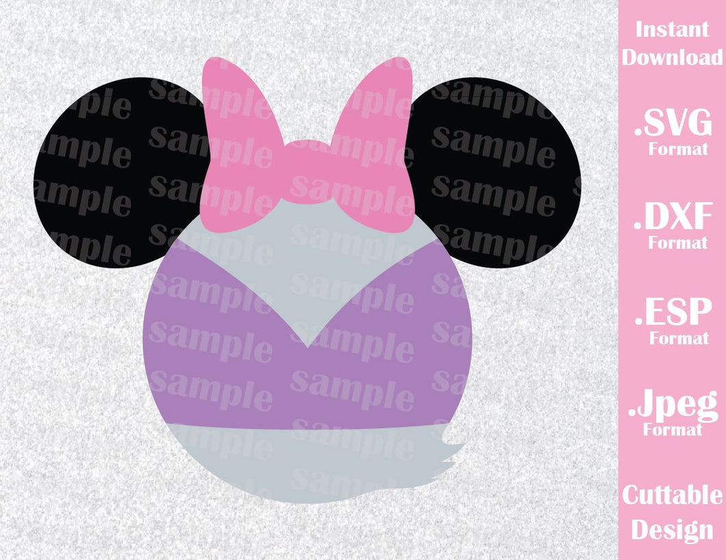 Disney Inspired Daisy Duck Mickey Ears Cutting File in SVG, ESP, DXF and JPEG Format