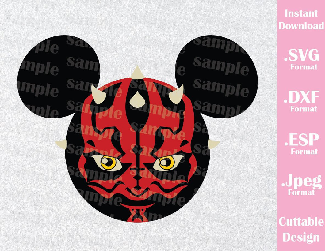 Darth Maul Villain Mickey Ears Star Wars Disney Inspired Cutting File in SVG, ESP, DXF and JPEG Format