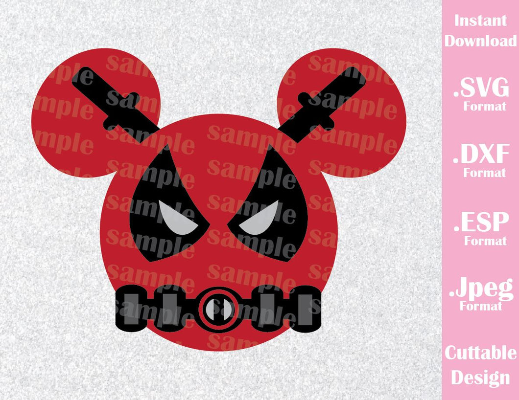 Deadpool Superhero Mickey Ears Inspired Cutting File in SVG, ESP, DXF and JPEG Format