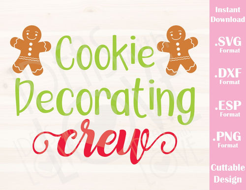 Cookie Decorating Crew Gingerbread Christmas Quote Baby Kids Family Vacation Cutting File in SVG, ESP, DXF and PNG Format for Cricut and Silhouette