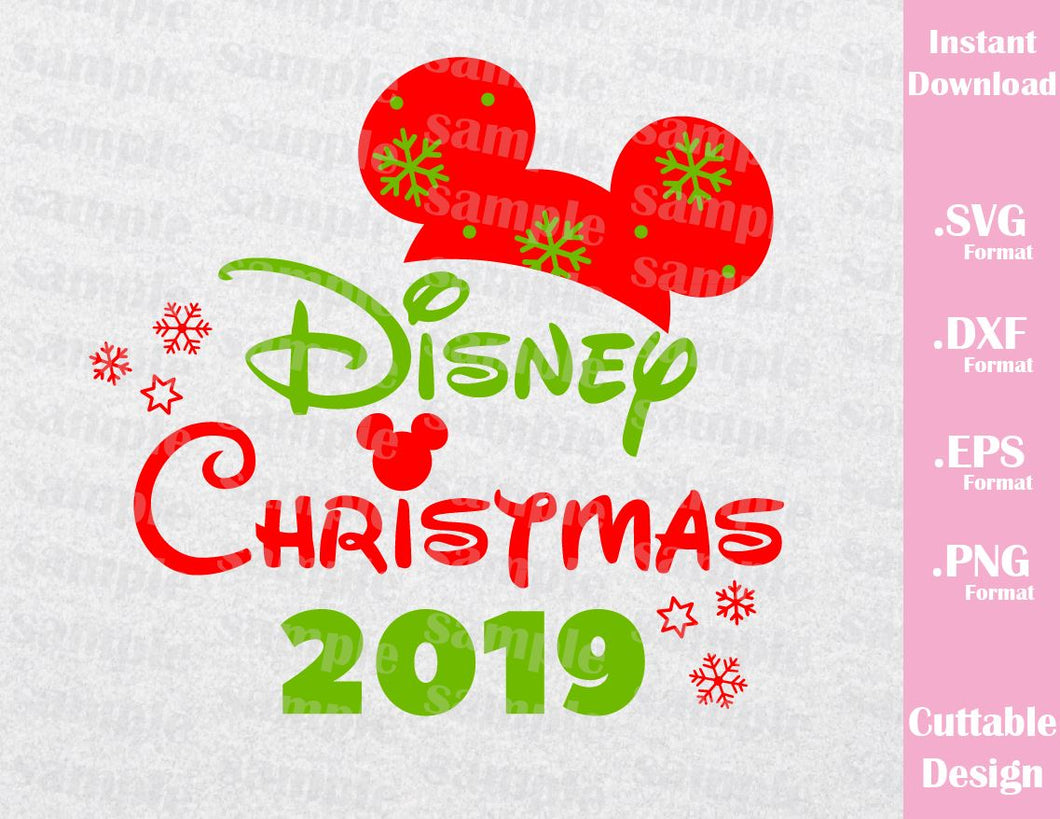 Christmas 2019 Inspired Mickey Ears Cutting Files in SVG, ESP, DXF, PNG Formats