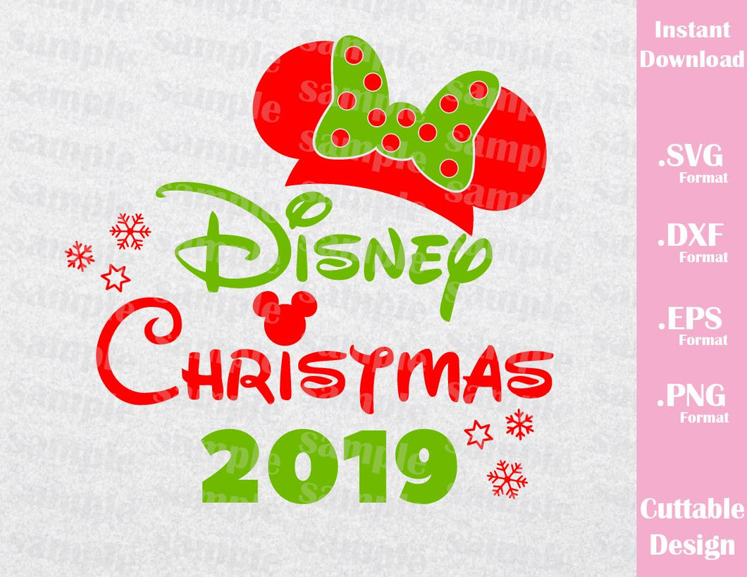 Christmas 2019 Inspired Minnie Ears Cutting Files in SVG, ESP, DXF, PNG Formats