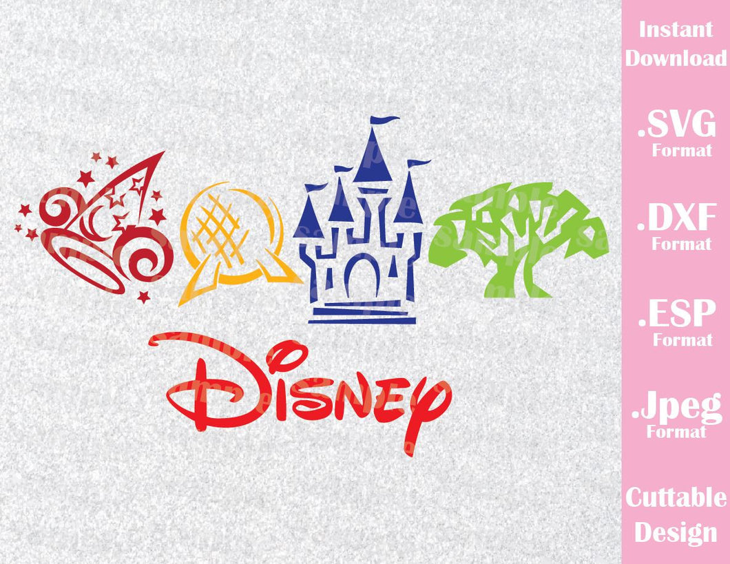 Disney Parks Logos Inspired Family Vacation Cutting File In SVG ESP DXF And JPEG