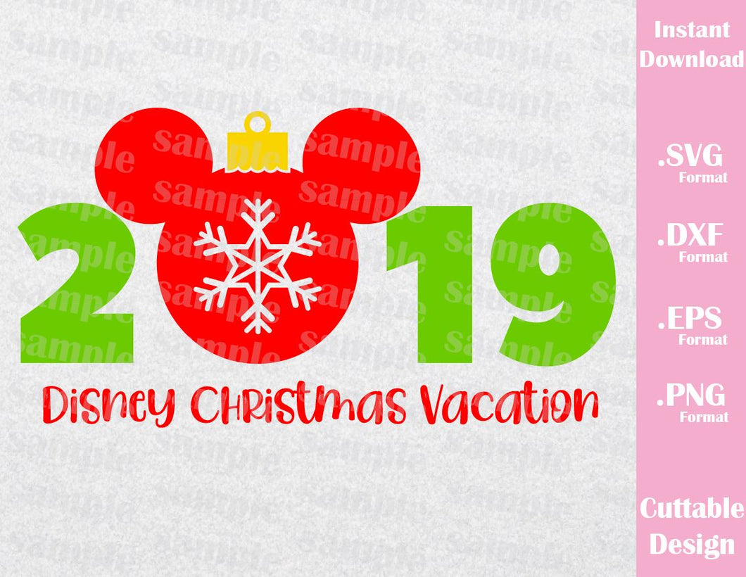 Christmas Mickey Ears 2019 Vacation Inspired Cutting File in SVG, ESP, DXF, PNG Format