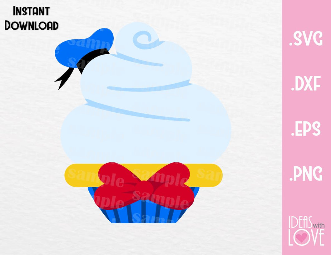 Donald Duck Cupcake Inspired Cutting File in SVG, EPS, DXF and PNG Format
