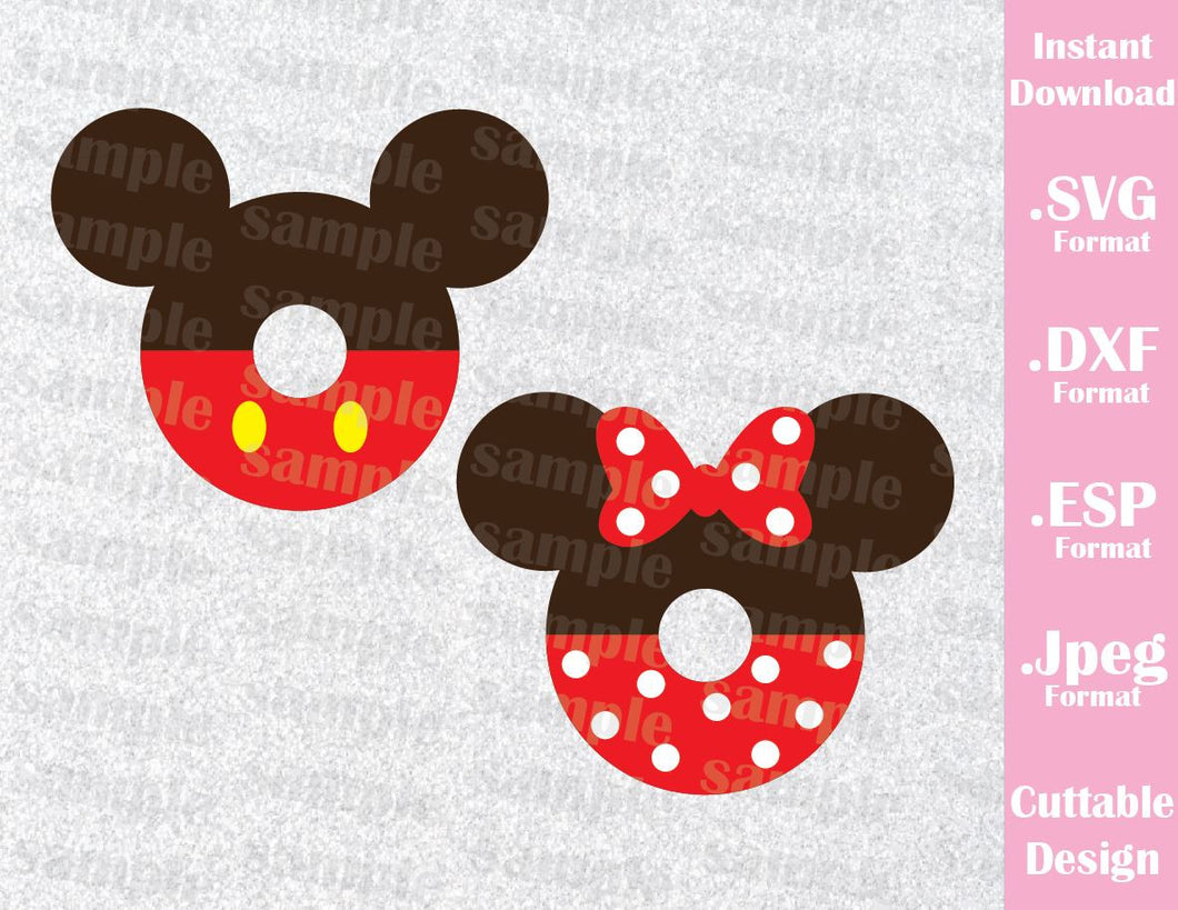 Mickey and Minnie Ears Donuts Inspired Cutting File in SVG, ESP, DXF and JPEG Format