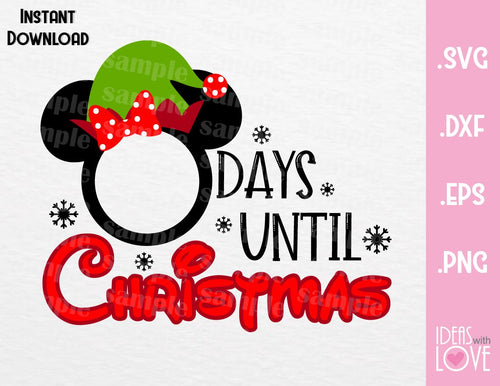 Minnie Elf Disney Christmas Countdown Inspired SVG, EPS, DXF, PNG Format