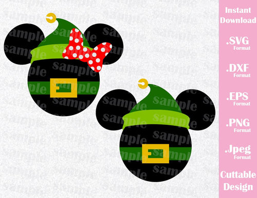 Christmas Inspired Elf Mickey and Minnie Ears Cutting File in SVG, ESP, DXF, PNG and JPEG Format