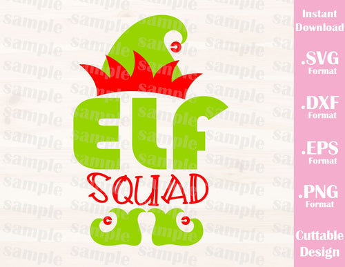 Elf Squad, Christmas Quote, Cutting File in SVG, ESP, DXF and PNG Format for Cricut and Silhouette