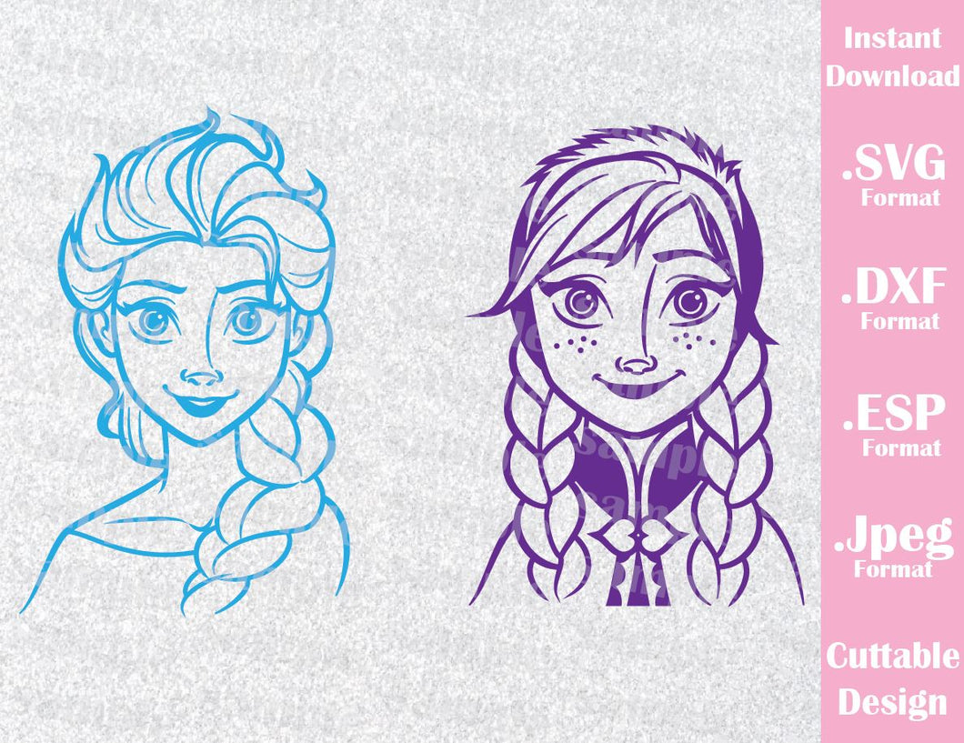 Disney Princesses Inspired Elsa and Anna from Frozen Cutting File in SVG, ESP, DXF and JPEG Format