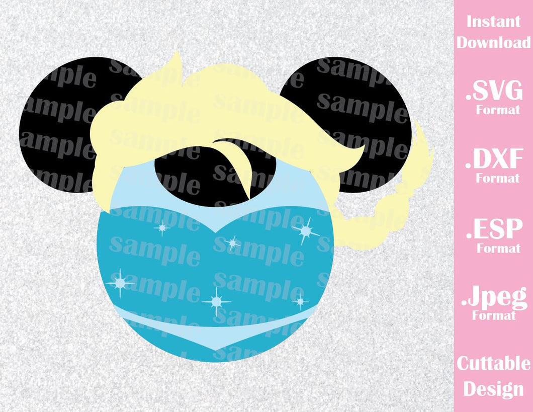 Princess Elsa Mickey Ears Frozen Inspired Cutting File in SVG, ESP, DXF and JPEG Format