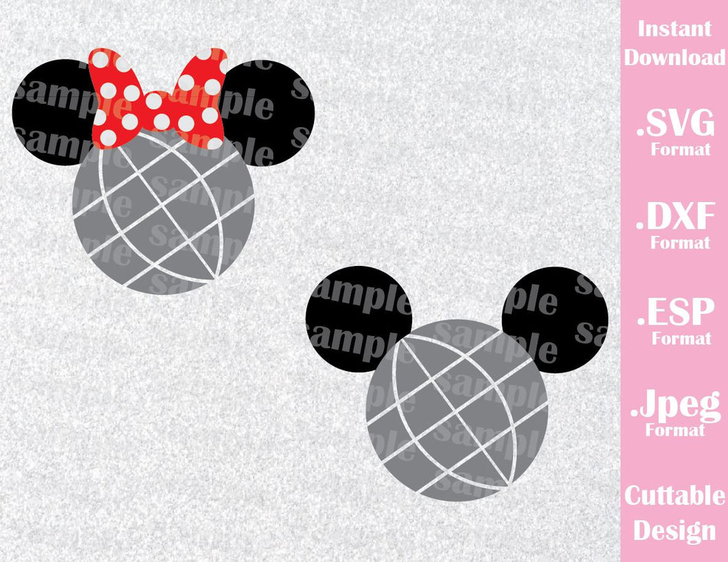 Epcot Park Mickey and Minnie Ears Inspired Family Vacation Cutting File in SVG, ESP, DXF and JPEG Format