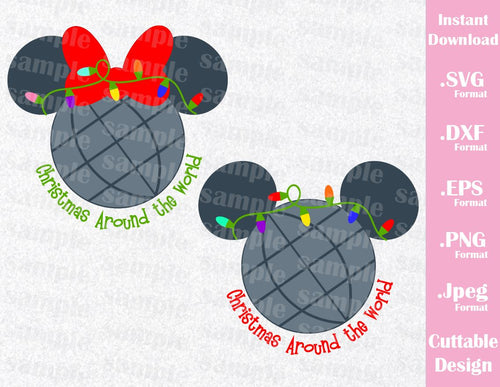 Christmas Epcot Quote Mickey and Minnie Ears Inspired Family Vacation Cutting File in SVG, ESP, DXF, PNG and JPEG Format