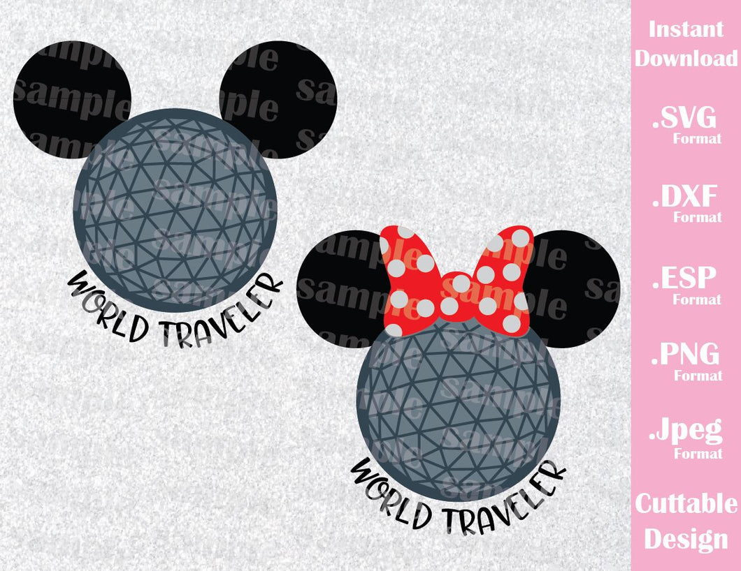 Epcot Park Mickey and Minnie Ears World Traveler Inspired Cutting File in SVG, ESP, DXF, PNG and JPEG Format