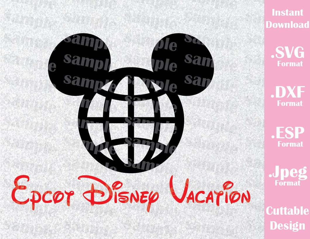 Epcot Park Mickey Ears Inspired Cutting File in SVG, ESP, DXF and JPEG Format