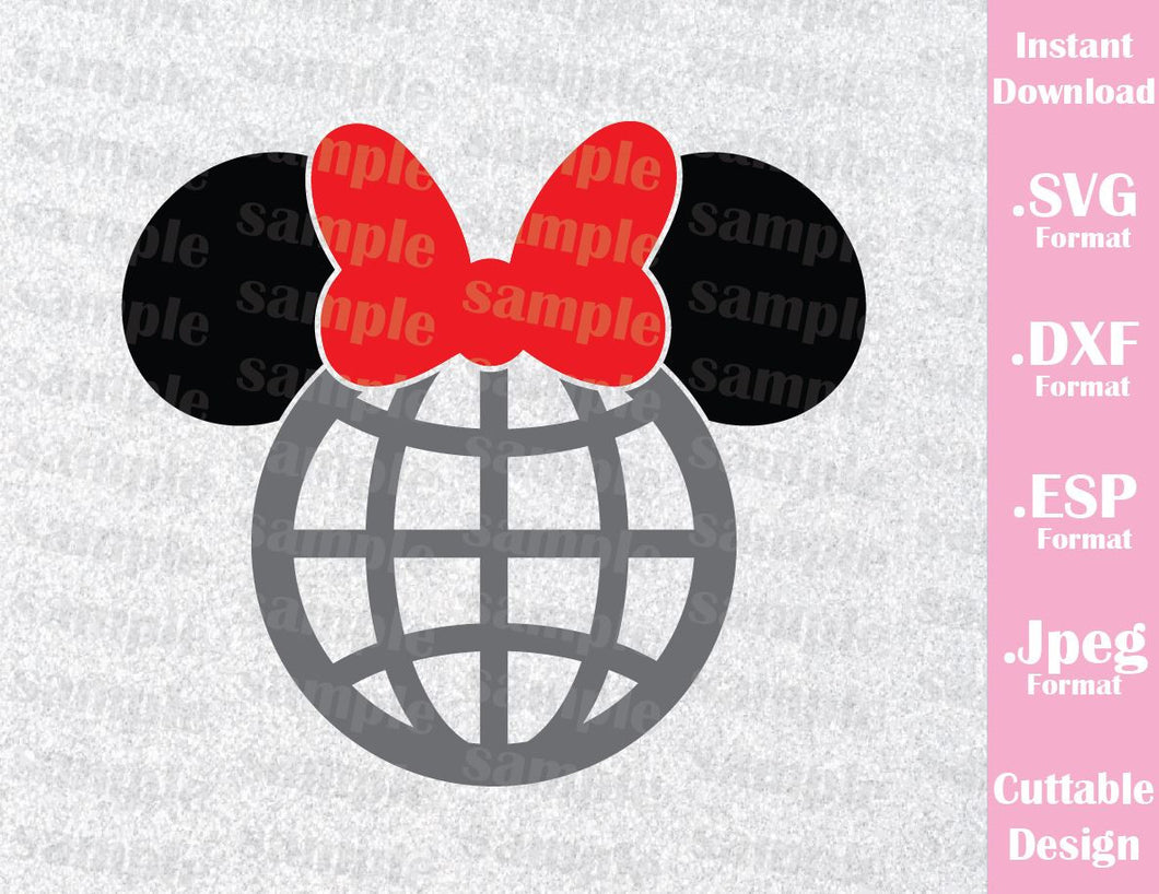 Epcot Park Minnie Ears Inspired Family Vacation Cutting File in SVG, EPS, DXF and JPEG Format
